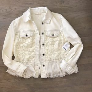 NWT Beautiful Lace Denim Jacket from Free People